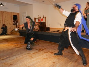 The Shadow Players will demonstrate sword fights on the grounds of the Ocracoke Oyster Co.